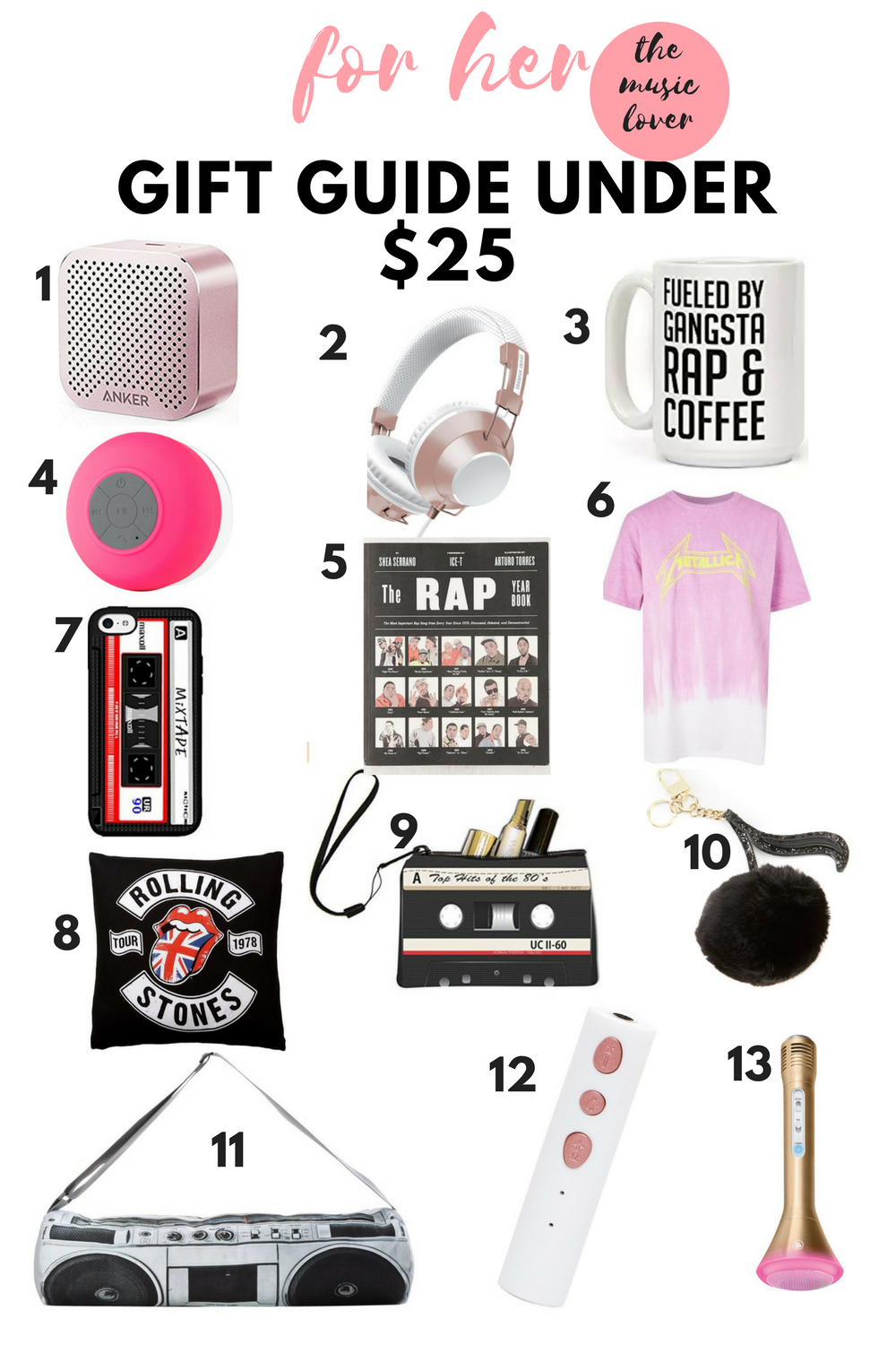 gift guide under $25 for her personality type - the music lover